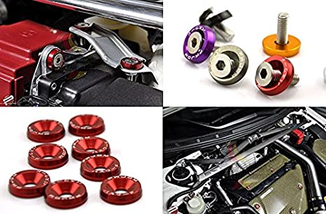 Amooca Purple Password JDM Aluminum Alloy Fender Bumper Engine Dress Up Washers Kit with Bolts 10Pcs