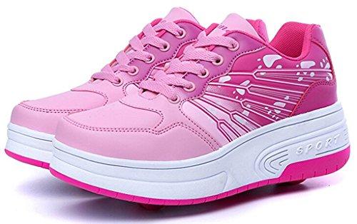 Mojoton - Zapatillas de skateboarding de Material Sintético para niño Rosa
