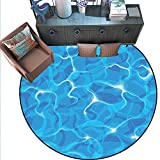 Aqua Round Floor Cover Realistic Vivid Illustration Water Texture Freshness Ocean Pool Surface
