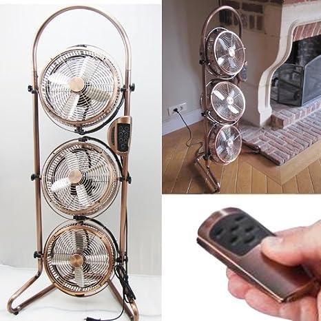 Captelec - Ventilador triple de estilo colonial (oscilación de 360 ...