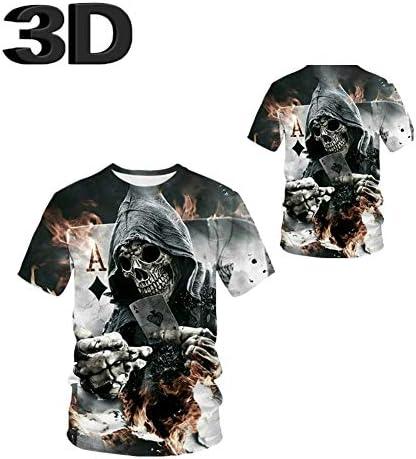 Luanda 3D-bedrucktes T-Shirt, Unisex, Rundhalsausschnitt, kurzärmelig, Löwe Totenkopf D/XL