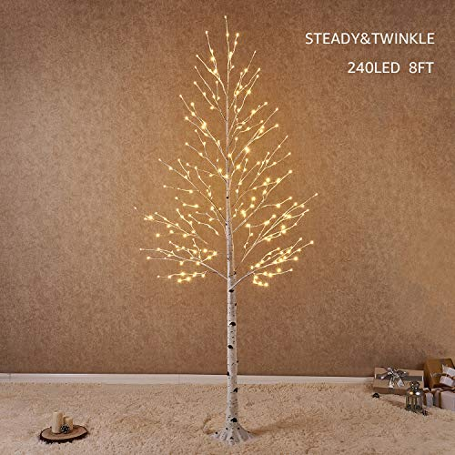 Hairui Pre Lit White Birch Tree 8FT 240L for Christmas Holiday Party Decorations Tree Plug in Indoor Outdoor Use (8ft Tree Pre Lit Christmas)