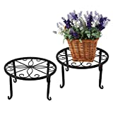 """Iron/Metal Plant Stands Flower Pot Holders, 9.5"""" Scroll Pattern Potted Floor Flower Pot, Pack of 2, Black"""