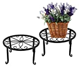 Iron/Metal Plant Stands Flower Pot Holders, 9.5″ Scroll Pattern Potted Floor Flower Pot, Pack of 2, Black For Sale