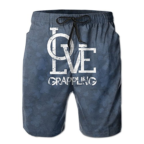 Men's Love Grappling Floral Volley Watershort Beach Shorts Trunks (Grappling Boardshorts)