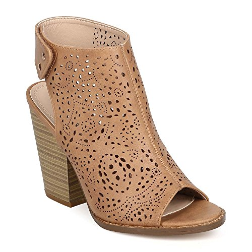 Z. Emma Women's Open Toe Perforated Faux Leather Chunky Stacked Heel Pump Sandals Summer Cutout Booties WR03 Beige 11