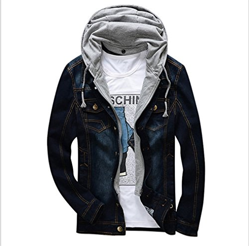 Charles WesT 2017 Spring and Autumn New Fashion Youth Men's Casual Jacket Hooded Removable Denim Jacket Black