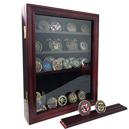 AtSKnSK Military Challenge Coin Display Holder Stand Rack Box with Closable Glass Door – Holds 50 to 60 Coins – Shelf Removable