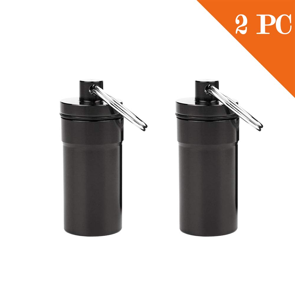 Essential Keychain Container of Airtight Waterproof Capsule Seal Bottle and Dry Box for Outdoor Activity EDC Survive at Military Grade to Store Pills,Matches 2 Pack