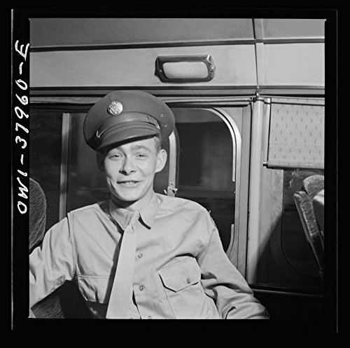 1943 Photo A Greyhound bus trip from Louisville, Kentucky, to Memphis, Tennessee, and the terminals. Soldier on furlough going home. Enroute Louisville to Nashville Location: Southern States