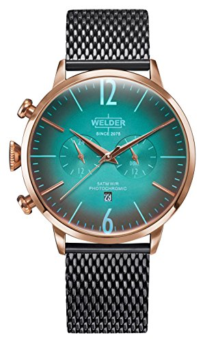 Welder Moody Stainless Steel Gunmetal Mesh Dual Time Rose Gold-Tone Watch with Date 45mm