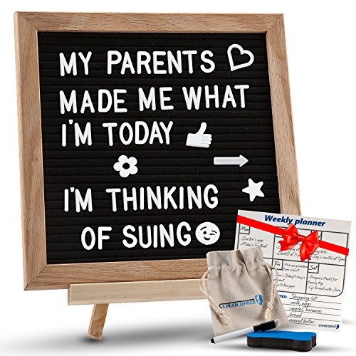 Changeable Black Felt Letter Board with Stand, Letters, Canvas Storage Bag, Wall Mount & Bonus Dry Erase Board. Premium 10x10