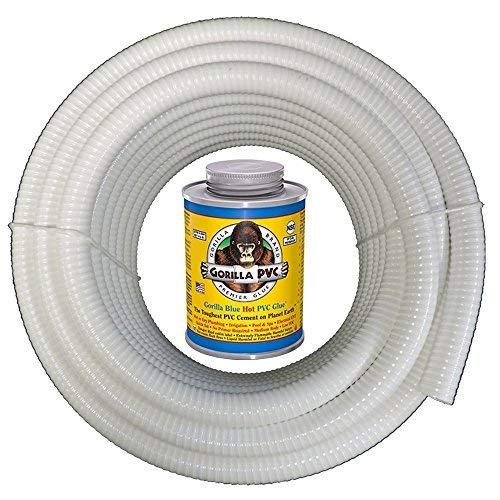 HydroMaxx 25 Feet x 2 Inch White Flexible PVC Pipe, Hose, Tubing for Pools, Spas and Water Gardens. Includes Free 4oz Can of Hot Blue PVC Gorilla Glue. by HydroMaxx