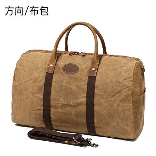 52cm con cera HANDBAG de tela diagonal de Vintage 32cm VINTAGE caqui dirección bolsa bolsa lona handbag ordenador bolsa impermeable de caballo de piel cera 27cm de wYwxqBU7