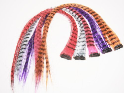 4 X Colored Grizzly Synthetic Feather Clip on in Hair Extensions Beauty Salon Supply Wholesale Lot New. From New York.]()