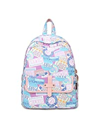 """Artone Label Stamp Poster Water Resistant Big Capacity Backpack Padded School Daypack With Laptop Compartment Fit 14"""" Notebook Purple Pink"""