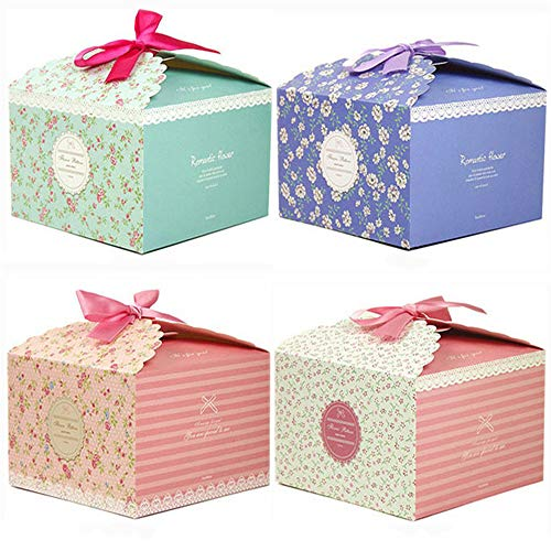 (Chilly Gift Boxes, Set of 12 Decorative Treats Boxes, Cake, Cookies, Goodies, Candy and Handmade Bath Bombs Shower Soaps Gift Boxes for Christmas, Birthdays, Holidays, Weddings (Flower Patterned))