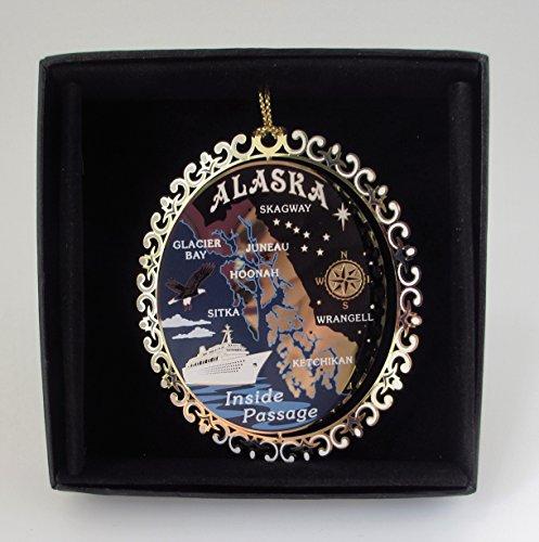 Alaska Brass Christmas Ornament Inside Passage Black Leatherette Gift Box (Ornament Alaska Christmas)
