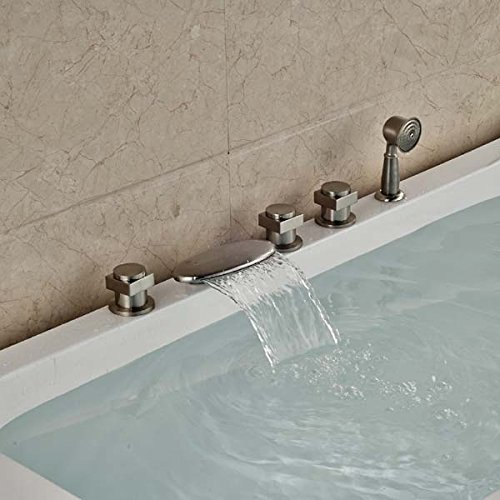 CZOOR Luxus Nickel gebürstet Bad Badewanne Armatur Dusche spritze Deck montiert Tippen, Pflaume