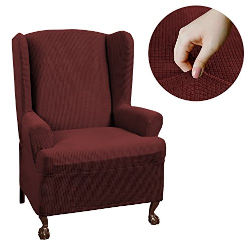 Maytex Reeves Stretch 1 - Piece T – Cushion Wingback Chair with Arms Furniture Cover Slipcover, Red