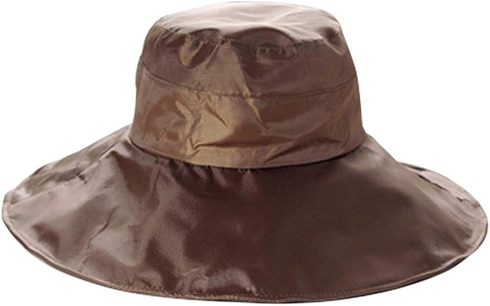 Women's Rain Hat Outdoor Sun Protection Rain Cap Wide Brim Bucket Hat, Waterproof, Satin-Lined, Packable Brown at  Women's Clothing store