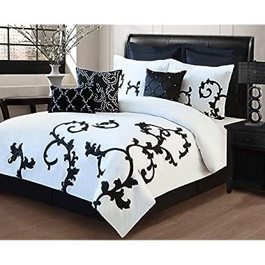 KingLinen 9 Piece Queen Duchess Black and White Comforter Set