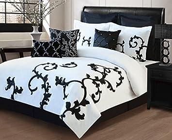 amazoncom 9 piece queen duchess black and white comforter set home kitchen - Black And White Comforter Set