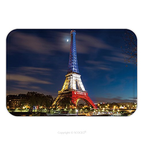 France National Dress Costume (Flannel Microfiber Non-slip Rubber Backing Soft Absorbent Doormat Mat Rug Carpet Pris France November The Eiffel Tower Lit Up With The Colors Of The French National 340858064 for Indoor/Outdoor/Bathro)