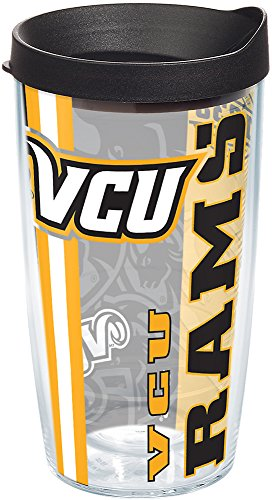 Tervis 1229761 VCU Rams College Pride Tumbler with Wrap and Black Lid 16oz, Clear ()