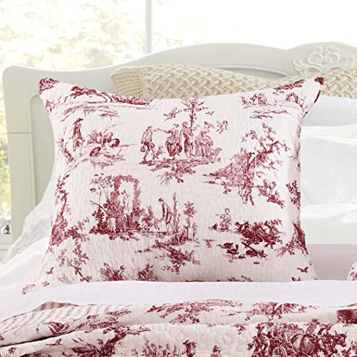 Greenland Home Classic Toile Pillow Sham, King, Red (Classic Print Pillow Pack)
