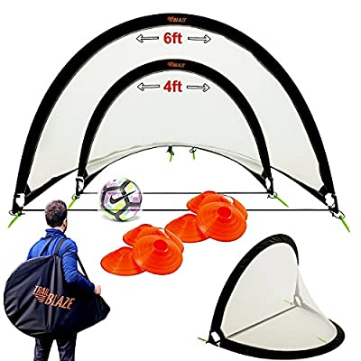 Trailblaze Pop Up Soccer Goal Set of 2 - Portable Kids Soccer Goals for Backyard with Carry Bag. 8 Disc Soccer Cones + Extra Metal Pegs - Strongest Toddler Soccer Nets