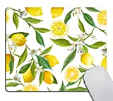 Smooffly Lemon Mouse Pad Custom,Lemon Fruits with Flowers and Leaves Pattern Mousepad Non-Slip Rubber Gaming Mouse Pad Rectangle Mouse Pads for Computers Laptop