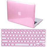 """MacBook Air 13"""" Case Hard Shell Cover Glossy Clear Tint + Keyboard Skin - Fits 13.3"""" Apple Mac Air Notebook Model A1369 / A1466 (Glossy Pink)"""