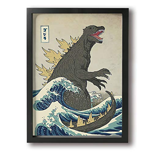 Little Monster Kaiju Godzilla Appear Framed Painted On Canvas Home Decor Modern Art for Boys and Girls Bedroom Black