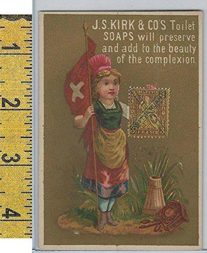 Victorian Card, 1890's, Kirks Chicago Soap, Flag Girl, Stamp, Switzerland