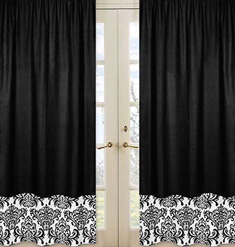 Sweet Jojo Designs 2-Piece Black and White Isabella Window Treatment Panels