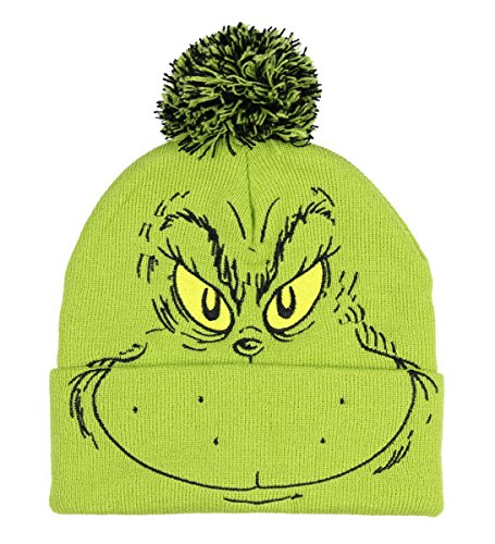 Bioworld Dr. Seuss The Grinch Who Stole Christmas Pom Beanie Hat Embroidered Character,Green,One Size
