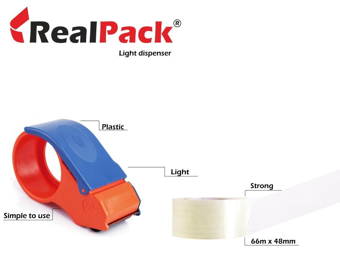 Realpackâ ® 1x light Duty tape dispenser + 2rotoli di nastro per imballaggio trasparente pacchi nastro–facile da usare in plastica cutter rullo dispenser free Fast Shipping Next Day UK Delivery Service * *