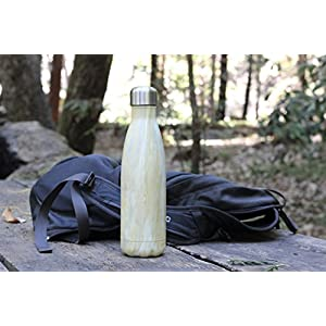 MIRA Vacuum Insulated Travel Water Bottle | Leak-proof Double Walled Stainless Steel Cola Shape Portable Water Bottle | No Sweating, Keeps Your Drink Hot & Cold | 17 Oz (500 ml) (Yellow Granite)