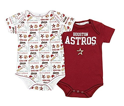 Houston Astros MLB Unisex Baby Infants 2 Pack Bodysuit Set, Brick Red / White (Houston Astros Clothes)