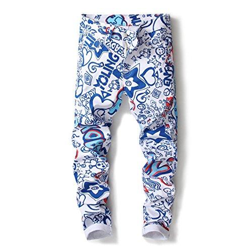 George Gouge Hip Hop 3D Printed Jeans Men Male White Gray Denim Elastic Skinny Jeans Men Slim Trousers Jeans Homme 5003 34 Homme Denim Pants