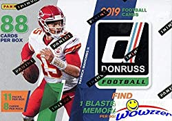 Wowzzer! Brand New & Super HOT! We are Proud to offer this Original 2019 Donruss NFL Football EXCLUSIVE Factory Sealed Retail Box! This EXCLUSIVE HUGE Factory Sealed Box includes 11 Pack and 8 Cards Per Pack for a Total of 88 Cards! PLUS this Ama...
