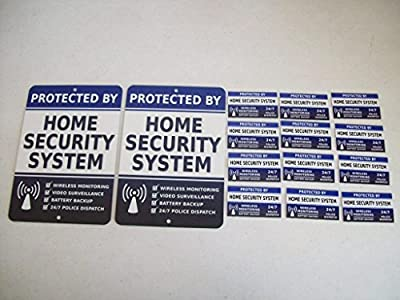 2 Home Security Alarm System Yard Signs & 12 Window Stickers - Stock # 713