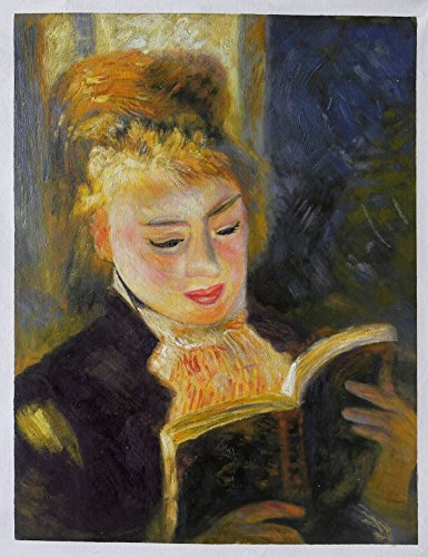 The Reader (Young Woman Reading a Book) - Pierre-Auguste Renoir high quality hand-painted oil painting reproduction,study room wall art,kids room decor (Painting Reading Oil)