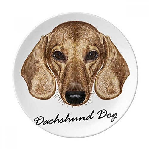 Brown Short-leg Dachshund Dog Animal Dessert Plate Decorative Porcelain 8 inch Dinner Home by DIYthinker