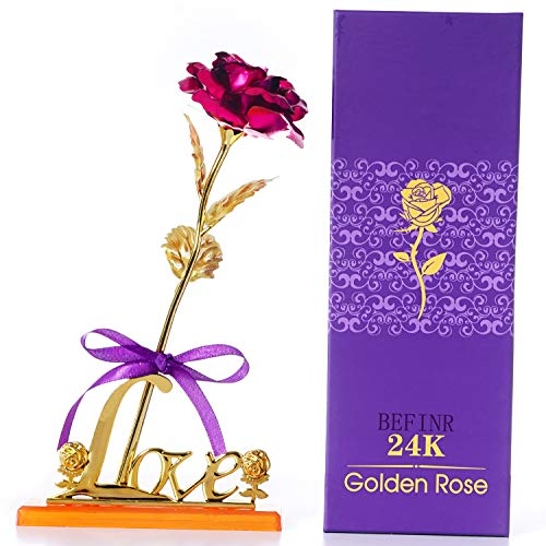BEFINR 24K Gold Rose for Girlfriend for Wife on The Valentine's Day, Unique Gifts with Gold-Plated Plastic Flower Gift (Pink) (Unique Gift For Girlfriend On Valentine Day)