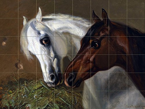 Two Horses by Emil Volkers Tile Mural Kitchen Bathroom Wall Backsplash Behind Stove Range Sink Splashback 8x6 4.25