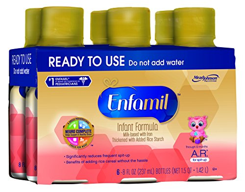 Enfamil  A.R. Baby Formula - 8 fl oz Plastic Bottles, 6 Count (Pack of 4)