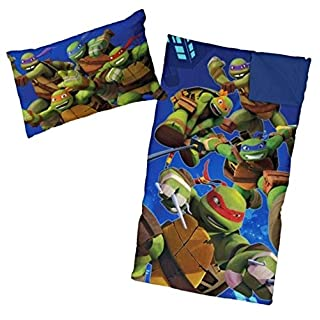 Ninja Turtle Sleeping Bags for Boys Slumber Bag (45 Degrees Fahrenheit) and Pillow - 2 Piece Set
