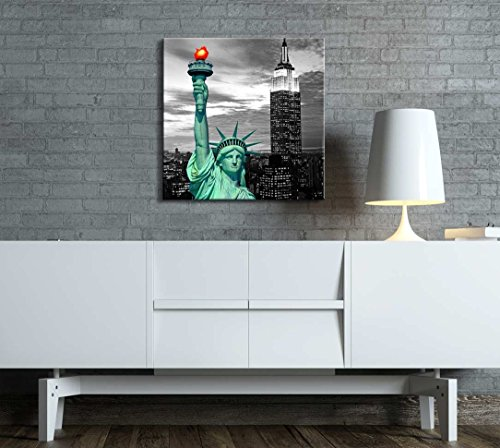 Black and White Photograph of New York with Pop of Green on The Statue of Liberty